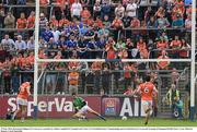 29 May 2016; Raymond Galligan of Cavan saves a penalty by Stefan Campbell of Armagh in the Ulster GAA Football Senior Championship quarter-final between Cavan and Armagh at Kingspan Breffni Park, Cavan. Photo by Ramsey Cardy/Sportsfile