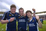 1 April 2006; Leinster players, l to r, Malcolm O'Kelly, Jamie Heaslip and Gordon D'Arcy celebrate after the game. Heineken Cup 2005-2006, Quarter-Final, Toulouse v Leinster, Le Stadium, Toulouse, France. Picture credit: Matt Browne / SPORTSFILE