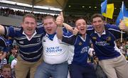 1 April 2006; Leinster supporters, l to r, Ciaran O'Brien, Tony Lawless, David O'Brien and Brendan Kealy celebrate after the game. Heineken Cup 2005-2006, Quarter-Final, Toulouse v Leinster, Le Stadium, Toulouse, France. Picture credit: Matt Browne / SPORTSFILE