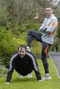 28 March 2006; Former Cork star Colin Corkery, who has signed up for the 2006 adidas Dublin Marathon Virgins team, with team coach Gary Crossan. Corkery is looking for 12 other first time marathon runners from around the country to join him on the team. People can sign up at www.adidasdublinmarathon.ie. Merrion Square, Dublin. Picture credit: David Maher / SPORTSFILE