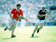 2 September 1990; Tomas Mulcahy, Cork, in action against Tony Keady, Galway. Cork v Galway, All-Ireland Hurling Final. Croke Park, Dublin. Picture credit: Ray McManus / SPORTSFILE