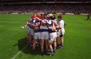 20 June 1999; Laois players huddle prior to the Guinness Leinster Senior Hurling Championship Semi-Final match between Kilkenny and Laois at Croke Park in Dublin. Photo by Ray McManus/Sportsfile