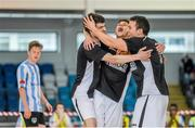 24 May 2014; Joel Rocha, FCG Dublin Futsal, left, celebrates with team-mates Robson Fernandes, centre, and Rodrigo de Melo, after scoring his side's fifth goal. FAI Futsal Cup Final, Eden Futsal v FCG Dublin Futsal, Athlone Institute of Technology Arena, Athlone, Co. Westmeath. Picture credit: Diarmuid Greene / SPORTSFILE