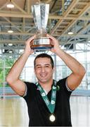 24 May 2014; Eden Futsal head coach Jose Ferriera celebrates with the trophy after victory over FCG Futsal Dublin. FAI Futsal Cup Final, Eden Futsal v FCG Dublin Futsal, Athlone Institute of Technology Arena, Athlone, Co. Westmeath. Picture credit: Diarmuid Greene / SPORTSFILE