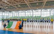 24 May 2014; The Eden Futsal and FCG Dublin Futsal squads line up for the national anthem before the game. FAI Futsal Cup Final, Eden Futsal v FCG Dublin Futsal, Athlone Institute of Technology Arena, Athlone, Co. Westmeath. Picture credit: Diarmuid Greene / SPORTSFILE