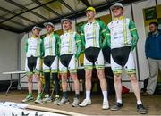 18 May 2014; The Inishowen Gateway McCafe team before Stage 1 of the 2014 An Post Rás. Dunboyne - Roscommon. Picture credit: Ramsey Cardy / SPORTSFILE