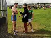 18 May 2014; Letrim's Emlyn Mulligan, right, shares a joke with Roscommon's Donie Shine, as he is interviewed by Daragh Small, Media West, after the game. Connacht GAA Football Senior Championship Quarter-Final, Roscommon v Leitrim, Dr. Hyde Park, Roscommon. Picture credit: Piaras Ó Mídheach / SPORTSFILE