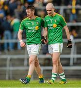 18 May 2014; Barry Prior, left, and Robert Lowe, Leitrim, leave the field after the game. Connacht GAA Football Senior Championship Quarter-Final, Roscommon v Leitrim, Dr. Hyde Park, Roscommon. Picture credit: Piaras Ó Mídheach / SPORTSFILE