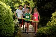 27 May 2014; Former Irish schools champions Brian Gregan, left, and Sarah Lavin, right, with Aviva Irish Schools Track and Field Championships finalists Molly Scott and Brian Masterson who were dreaming of Tokyo 2020 at the finals launch today at the Japanese Gardens in Tully, Co. Kildare. Picture credit: Pat Murphy / SPORTSFILE