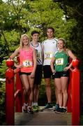 27 May 2014; Former Irish schools champions Brian Gregan, second from right, and Sarah Lavin, left, with Aviva Irish Schools Track and Field Championships finalists Molly Scott and Brian Masterson who were dreaming of Tokyo 2020 at the finals launch today at the Japanese Gardens in Tully, Co. Kildare. Picture credit: Pat Murphy / SPORTSFILE