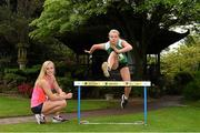 27 May 2014; Former Irish schools champion Sarah Lavin, left, with Aviva Irish Schools Track and Field Championships finalist Molly Scott who were dreaming of Tokyo 2020 at the finals launch today at the Japanese Gardens in Tully, Co. Kildare. Picture credit: Pat Murphy / SPORTSFILE