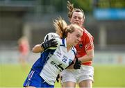 10 May 2014; Hannah Landers, Waterford, in action against Sarah Marley, Armagh. TESCO Ladies National Football League Division 3 Final, Armagh v Waterford, Parnell Park, Dublin. Picture credit: Barry Cregg / SPORTSFILE