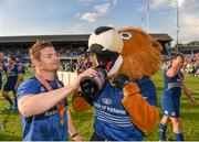 31 May 2014; Leinster's Brian O'Driscoll celebrates at the end of the game with Leinster mascot Leo the Lion. Celtic League 2013/14 Grand Final, Leinster v Glasgow Warriors. RDS, Ballsbridge, Dublin. Picture credit: Stephen McCarthy / SPORTSFILE