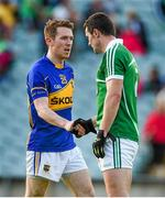 31 May 2014; Brian Mulvihill, Tipperary, exchanges a handshake with Stephen Lucey, Limerick, after the game. Munster GAA Football Senior Championship, Quarter-Final, Limerick v Tipperary, Gaelic Grounds, Limerick. Picture credit: Diarmuid Greene / SPORTSFILE