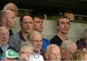 1 June 2014; Donegal manager Jim McGuinness, right, along with Donegal selectors Damien Diver and John Duffy at the game. Donegal play Antrim in the next round. Ulster GAA Football Senior Championship, Quarter-Final, Fermanagh v Antrim, Brewster Park, Enniskillen, Co. Fermanagh. Picture credit: Oliver McVeigh / SPORTSFILE