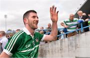 1 June 2014; Donal O'Grady celebrates with Limerick supporters. Munster GAA Hurling Senior Championship, Semi-Final, Tipperary v Limerick, Semple Stadium, Thurles, Co. Tipperary. Picture credit: Ray McManus / SPORTSFILE