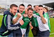 1 June 2014; Richie McCarthy celebrates with Limerick supporters after the game. Munster GAA Hurling Senior Championship, Semi-Final, Tipperary v Limerick, Semple Stadium, Thurles, Co. Tipperary. Picture credit: Ray McManus / SPORTSFILE