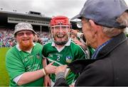 1 June 2014; Seamus Hickey celebrates with Limerick supporters. Munster GAA Hurling Senior Championship, Semi-Final, Tipperary v Limerick, Semple Stadium, Thurles, Co. Tipperary. Picture credit: Ray McManus / SPORTSFILE