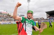 1 June 2014; Nickie Quaid celebrates with Limerick supporters after the game. Munster GAA Hurling Senior Championship, Semi-Final, Tipperary v Limerick, Semple Stadium, Thurles, Co. Tipperary. Picture credit: Ray McManus / SPORTSFILE