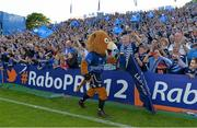 31 May 2014; Leinster mascot Leo the Lion celebrates with supporters after the game. Celtic League 2013/14 Grand Final, Leinster v Glasgow Warriors, RDS, Ballsbridge, Dublin. Picture credit: Brendan Moran / SPORTSFILE