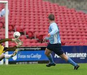 14 May 2006; Eoin O'Driscoll, Avondale United, scores a goal past Paul Collins, Blarney United. FAI Carlsberg Intermediate Cup Final, Blarney United v Avondale United, Turners Cross, Cork. Picture credit; Kieran Clancy / SPORTSFILE