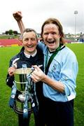 14 May 2006; Avondale United manager John Caulfield, left, with the captain Robbie Giltinan celebrate victory. FAI Carlsberg Intermediate Cup Final, Blarney United v Avondale United, Turners Cross, Cork. Picture credit; Kieran Clancy / SPORTSFILE