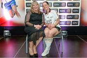 3 June 2014; Marie Hickey, Uachtarán Tofa of the LGFA and Ciamh Dollard, Laois, who was named in Division 1 Team of the League during the 2014 TESCO HomeGrown Ladies National Football Team of the League Presentations. Croke Park, Dublin. Picture credit: Barry Cregg / SPORTSFILE