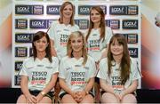 3 June 2014; The Galway girls who made it into the Division 2 Team of the Year. Back row from left, Annette Clarke and Barbara Hannon. Front row from left, Emer Flaherty, Sinéad Burke and Nicola Ward during the 2014 TESCO HomeGrown Ladies National Football Team of the League Presentations. Croke Park, Dublin. Picture credit: Barry Cregg / SPORTSFILE