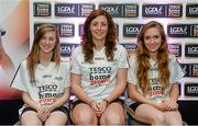 3 June 2014; The Waterford girls who made it into the Division 3 Team of the Year. From left, Aileen Wall, Michelle Ryan and Roisín Tobin during the 2014 TESCO HomeGrown Ladies National Football Team of the League Presentations. Croke Park, Dublin. Picture credit: Barry Cregg / SPORTSFILE