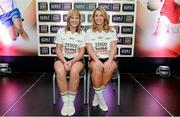 3 June 2014; The Down girls who made it into the Division 2 Team of the Year. Sinead Brannigan, left, and Eliza Downey during the 2014 TESCO HomeGrown Ladies National Football Team of the League Presentations. Croke Park, Dublin. Picture credit: Barry Cregg / SPORTSFILE