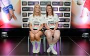 3 June 2014; The  Sligo girls who made it into the Division 3 Team of the Year. Orla McGowan, left, and Noelle Gormley during the 2014 TESCO HomeGrown Ladies National Football Team of the League Presentations. Croke Park, Dublin. Picture credit: Barry Cregg / SPORTSFILE