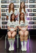 3 June 2014; The Armagh girls who made it into the Division 3 Team of the Year. Back row from left, Caroline O'Hanlon and Katie Daly. Front row from left, Mairéad Tennyson and Caoimhe Morganduring the 2014 TESCO HomeGrown Ladies National Football Team of the League Presentations. Croke Park, Dublin. Picture credit: Barry Cregg / SPORTSFILE