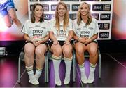 3 June 2014; The Antrim girls who made it into the Division 4 Team of the Year. From left, Claire Timoney, Mairéad Cooper and Áine Tubridy during the 2014 TESCO HomeGrown Ladies National Football Team of the League Presentations. Croke Park, Dublin. Picture credit: Barry Cregg / SPORTSFILE