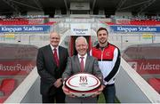 5 June 2014; Pictured are, from left to right, Shane Logan, Chief Executive Ulster Rugby, Pat Freeman, Managing Director of Kingspan Environmental, and Ulster's Tommy Bowe during an announcement of a 10-year agreement with the Kingspan Group for the naming rights to what will now be called Kingspan Stadium, Belfast, Co. Antrim. Picture credit: John Dickson / SPORTSFILE