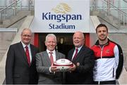 5 June 2014; Pictured are, from left to right, Shane Logan, Chief Executive Ulster Rugby, Pat Freeman, Managing Director of Kingspan Environmental, John Robinson, President Ulster Rugby, and Ulster's Tommy Bowe during an announcement of a 10-year agreement with the Kingspan Group for the naming rights to what will now be called Kingspan Stadium, Belfast, Co. Antrim. Picture credit: John Dickson / SPORTSFILE
