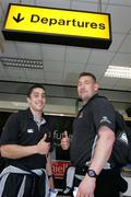 25 May 2006; Ulster Rugby players Kieran Campbell and Justin Fitzpatrick before leaving Belfast International airport on route to Swansea for their crunch Celtic league clash with Ospreyst. Picture credit; Oliver McVeigh / SPORTSFILE