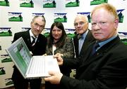 31 May 2006; At the official launch of the Cormac Trust website from left, Mickey Harte, Bridget McAnallen, Professor William McKenna of the London Heart Hospital and Brendan McAnallen. The website is an information point for people from all over Ireland and far beyond about the Cormac Trust Fund which was setup after the sudden death of GAA star Cormac McAnallen on the 2nd March, 2004, it covers Cormacs life, career and death and the heart conditions which so cruelly cut him and so many other very healthy and talented young people down. It was largely due to the death of Cormac, Irish youth rugby international John McCall and other subsequent cases that the Irish public became aware of the issue of sudden cardiac death among young people. Wellington Park Hotel, Belfast. Picture credit; Oliver McVeigh / SPORTSFILE