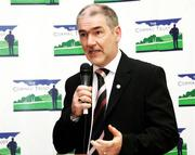 31 May 2006; Mickey Harte speaking at the official launch of the Cormac Trust website. The website is an information point for people from all over Ireland and far beyond about the Cormac Trust Fund which was setup after the sudden death of GAA star Cormac McAnallen on the 2nd March, 2004, it covers Cormacs life, career and death and the heart conditions which so cruelly cut him and so many other very healthy and talented young people down. It was largely due to the death of Cormac, Irish youth rugby international John McCall and other subsequent cases that the Irish public became aware of the issue of sudden cardiac death among young people. Wellington Park Hotel, Belfast. Picture credit; Oliver McVeigh / SPORTSFILE