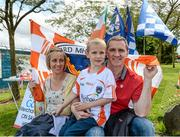8 June 2014; Tony McEntee, former All-Ireland winning Armagh player, with his 6 year old son Keelan and wife Eimear, from Crossmaglen, Co Armagh. Ulster GAA Football Senior Championship, Quarter-Final, Armagh v Cavan, Athletic Grounds, Armagh. Picture credit: Oliver McVeigh / SPORTSFILE