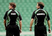 5 March 2004; Out-halves Ronan O'Gara and David Humphreys during Ireland Rugby kicking practice at Twickenham Stadium in London, England. Photo by Matt Browne/Sportsfile