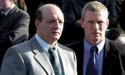 5 March 2005; Foemer Antrim hurler Terence McNaughton, left, and former Derry footballer and former Eglish GAC manager Tony Scullion in attendance at the funeral of Tyrone footballer Cormac McAnallen at St Patrick's Church in Eglish, Tyrone. Photo by Ray McManus/Sportsfile