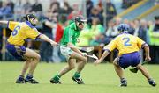 18 June 2006; Sean McMahon and Gerry O'Grady, Clare, in action against Mark Keane, Limerick. Guinness All-Ireland Senior Hurling Championship Qualifier, Round 1, Clare v Limerick, Cusack Park, Ennis, Co. Clare. Picture credit: Kieran Clancy / SPORTSFILE