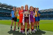 17 June 2014; In attendance at the launch of the 2014 Liberty Insurance Camogie Championship are, from left to right, Louise O'Hara, Dublin, Leanne Fennelly, Kilkenny, Aoife Kelly, Offaly, Anna Geary, Cork, Lorraine Ryan, Galway, Kate Kelly, Wexford, Sinead Cassidy, Derry, Eimear Considine, Clare and Sabrina Larkin, Tipperary. Croke Park, Dublin. Picture credit: Ramsey Cardy / SPORTSFILE