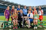 17 June 2014; In attendance at the launch of the 2014 Liberty Insurance Camogie Championship are, back row, left to right, Kate Kelly, Wexford, Lorraine Ryan, Galway, Sabrina Larkin, Tipperary, Louise O'Hara, Dublin, Eimear Considine, Clare, Anna Geary, Cork and Sinead Cassidy, Derry. Front row, left to right, Leanne Fennelly, Kilkenny, Patrick O'Brien, CEO, Liberty Insurance, President of the Camogie Association, Aileen Lawlor and Aoife Kelly, Offaly. Croke Park, Dublin. Picture credit: Ramsey Cardy / SPORTSFILE