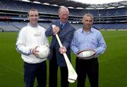 19 September 2003; Jack Charlton demonstrates his method of holding a hurley when the three legends of Irish sport, DJ Carey, Tony Ward and Jack Charlton came together in Croke Park, Dublin, for a Flora pro.active cholesterol awareness campaign to mark World Heart Day, which is Sunday 28 September 2003. Picture credit; Ray McManus / SPORTSFILE