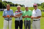 18 June 2014; Golfers, from left, Albert Sharpe, Gerry McIlroy, Rory McIlroy and Dermot Desmond on the first teebox before their round during the 2014 Irish Open Golf Championship Pro-Am. Fota Island, Cork. Picture credit: Diarmuid Greene / SPORTSFILE