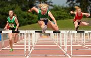 21 June 2014; Molly Scott, Scoill Conglais, Co. Wicklow, on her way to winning the Girls 80 Hurdles event. The 2014 Aviva Schools Tailteann Games. Morton Stadium, Santry, Dublin. Picture credit: Tomás Greally / SPORTSFILE