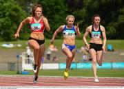 29 May 2016; Competitors, from left, Megan Marrs of City of Lisburn AC, Molly Scott of St O'Toole AC and Leah Moore of Clonliffe Harriers AC during the Women's 100m during the GloHealth National Championships AAI Games and Combined Events in Morton Stadium, Santry, Co. Dublin.  Photo by Piaras Ó Mídheach/Sportsfile
