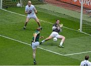 29 June 2014: Dalton McDonagh, Meath, has his shot saved by Kildare goalkeeper Mark Donnellan. Leinster GAA Football Senior Championship Semi-Final, Kildare v Meath, Croke Park, Dublin. Picture credit: Dáire Brennan / SPORTSFILE