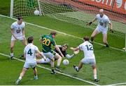 29 June 2014: Dalton McDonagh, Meath, has his shot blocked by Kildare players, left to right, Cathal McNally, Emmet Bolton, Mark Donnellan, Sean Hurley, and Hugh McGrillen. Leinster GAA Football Senior Championship Semi-Final, Kildare v Meath, Croke Park, Dublin. Picture credit: Dáire Brennan / SPORTSFILE